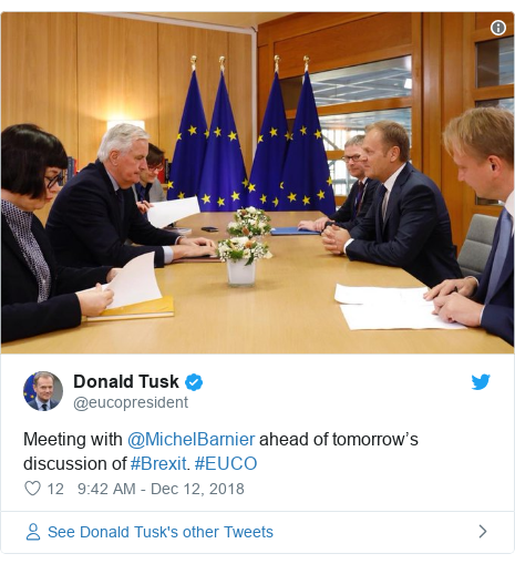 Twitter post by @eucopresident: Meeting with @MichelBarnier ahead of tomorrow's discussion of #Brexit. #EUCO