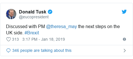 Twitter post by @eucopresident: Discussed with PM @theresa_may the next steps on the UK side. #Brexit