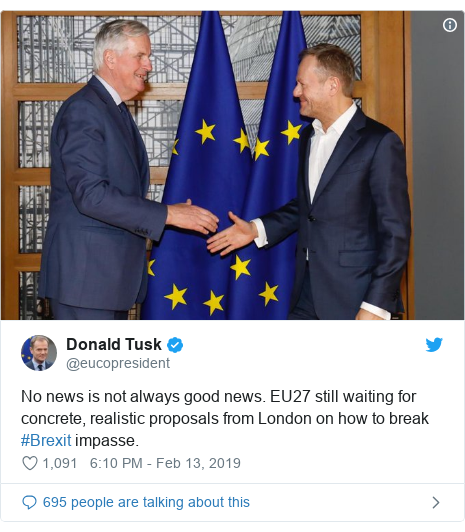 Twitter post by @eucopresident: No news is not always good news. EU27 still waiting for concrete, realistic proposals from London on how to break #Brexit impasse.