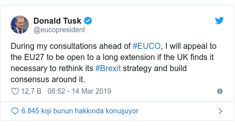 @eucopresident tarafından yapılan Twitter paylaşımı: During my consultations ahead of #EUCO, I will appeal to the EU27 to be open to a long extension if the UK finds it necessary to rethink its #Brexit strategy and build consensus around it.