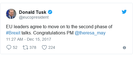 Twitter post by @eucopresident: EU leaders agree to move on to the second phase of #Brexit talks. Congratulations PM @theresa_may