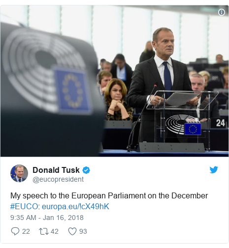 Twitter post by @eucopresident: My speech to the European Parliament on the December #EUCO