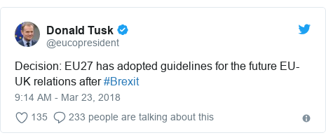 Twitter post by @eucopresident: Decision  EU27 has adopted guidelines for the future EU-UK relations after #Brexit
