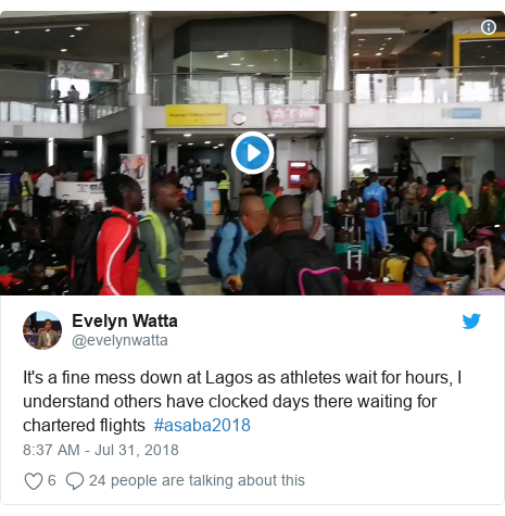 Twitter post by @evelynwatta: It's a fine mess down at Lagos as athletes wait for hours, I understand others have clocked days there waiting for chartered flights  #asaba2018
