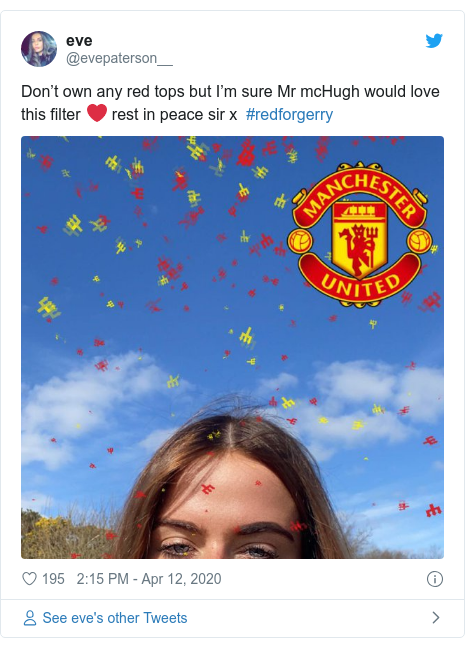 Twitter post by @evepaterson__: Don't own any red tops but I'm sure Mr mcHugh would love this filter ❤️ rest in peace sir x  #redforgerry