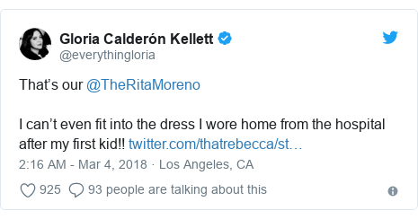 Twitter post by @everythingloria: That's our @TheRitaMoreno I can't even fit into the dress I wore home from the hospital after my first kid!!