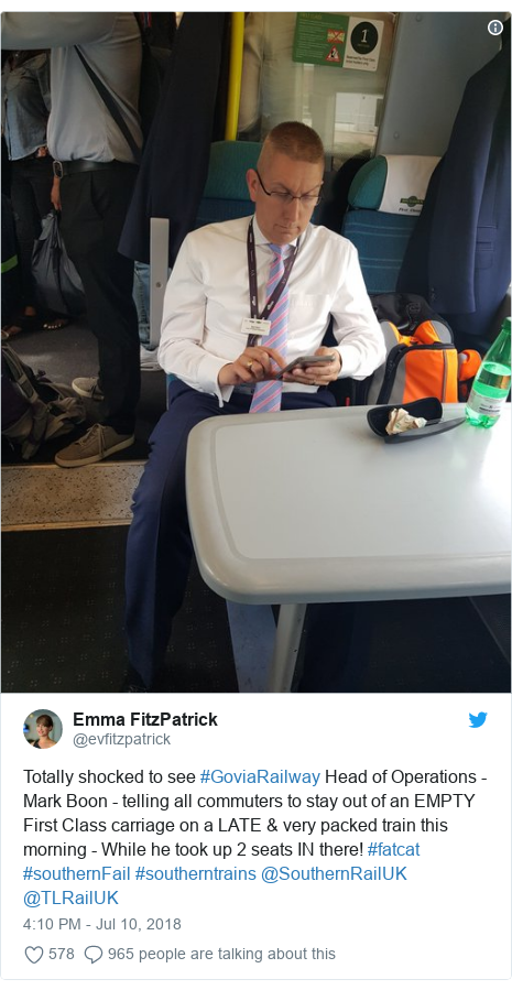Twitter post by @evfitzpatrick: Totally shocked to see #GoviaRailway Head of Operations - Mark Boon - telling all commuters to stay out of an EMPTY First Class carriage on a LATE & very packed train this morning - While he took up 2 seats IN there! #fatcat #southernFail #southerntrains @SouthernRailUK @TLRailUK