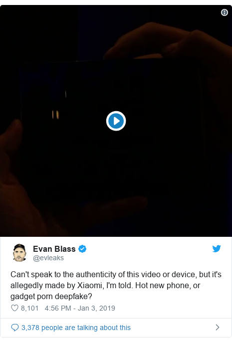 Twitter post by @evleaks: Can't speak to the authenticity of this video or device, but it's allegedly made by Xiaomi, I'm told. Hot new phone, or gadget porn deepfake?