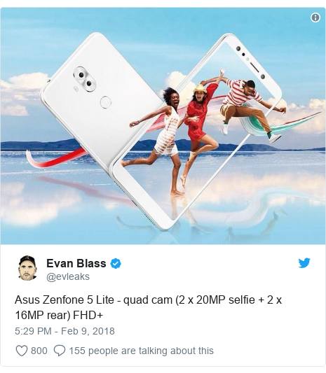 Twitter post by @evleaks: Asus Zenfone 5 Lite - quad cam (2 x 20MP selfie + 2 x 16MP rear) FHD+