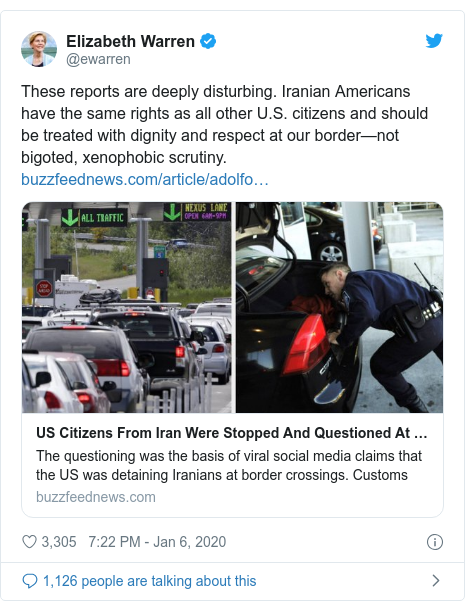 Twitter post by @ewarren: These reports are deeply disturbing. Iranian Americans have the same rights as all other U.S. citizens and should be treated with dignity and respect at our border—not bigoted, xenophobic scrutiny.