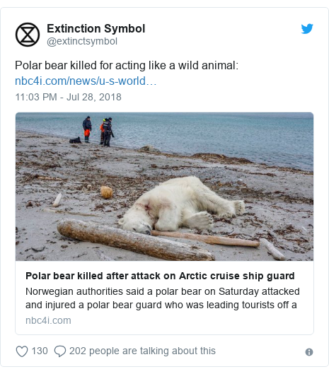 Twitter post by @extinctsymbol: Polar bear killed for acting like a wild animal