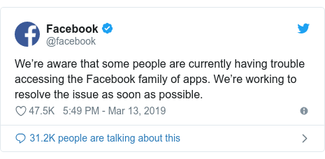 Twitter post by @facebook: We're aware that some people are currently having trouble accessing the Facebook family of apps. We're working to resolve the issue as soon as possible.