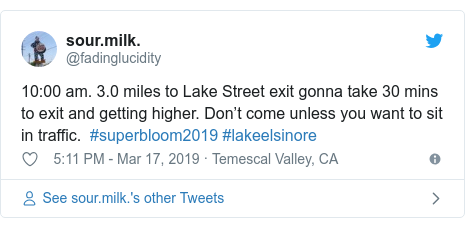 Twitter post by @fadinglucidity: 10 00 am. 3.0 miles to Lake Street exit gonna take 30 mins to exit and getting higher. Don't come unless you want to sit in traffic.  #superbloom2019 #lakeelsinore