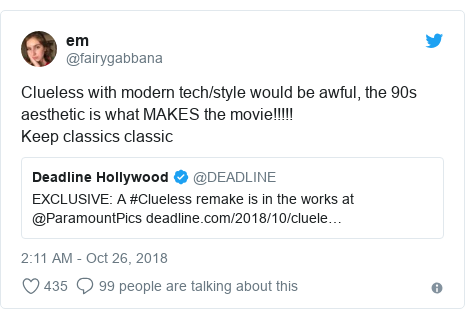 Twitter post by @fairygabbana: Clueless with modern tech/style would be awful, the 90s aesthetic is what MAKES the movie!!!!! Keep classics classic