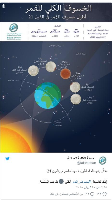 تويتر رسالة بعث بها @falakoman: غداً.. يشهد العالم أطول خسوف للقمر في القرن 21 إليكم تفاصيل #خسوف_القمر الكلي 🌑 بتوقيت السلطنة.