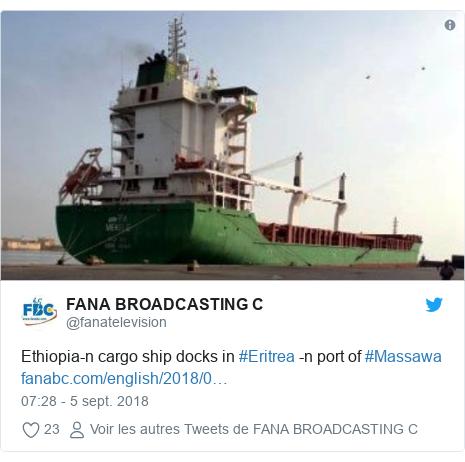 Twitter publication par @fanatelevision: Ethiopia-n cargo ship docks in #Eritrea -n port of #Massawa