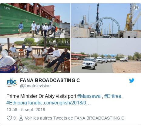 Twitter publication par @fanatelevision: Prime Minister Dr Abiy visits port #Massawa , #Eritrea. #Ethiopia