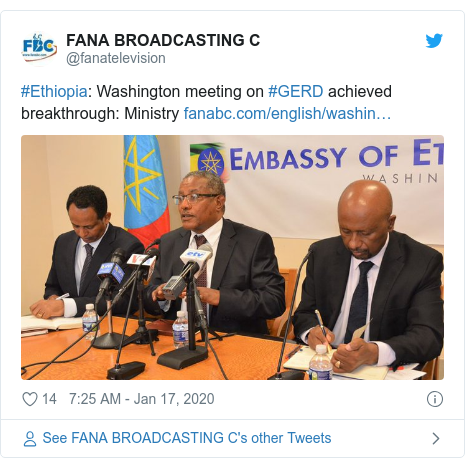 Twitter post by @fanatelevision: #Ethiopia  Washington meeting on #GERD achieved breakthrough  Ministry