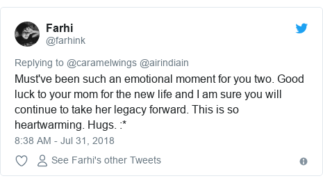 Twitter post by @farhink: Must've been such an emotional moment for you two. Good luck to your mom for the new life and I am sure you will continue to take her legacy forward. This is so heartwarming. Hugs.  *