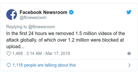 Twitter waxaa daabacay @fbnewsroom: In the first 24 hours we removed 1.5 million videos of the attack globally, of which over 1.2 million were blocked at upload...