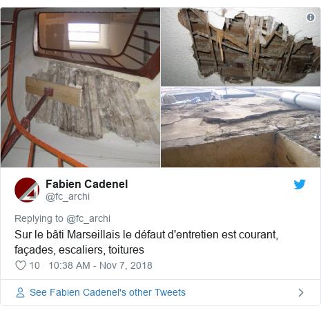 Twitter post by @fc_archi: Sur le bâti Marseillais le défaut d'entretien est courant, façades, escaliers, toitures