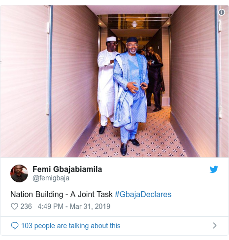 Twitter post by @femigbaja: Nation Building - A Joint Task #GbajaDeclares
