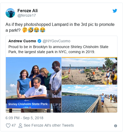 Twitter post by @feroze17: As if they photoshopped Lampard in the 3rd pic to promote a park!? 🤔🤣😂😂