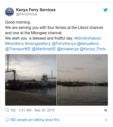 Twitter post by @FerryKenya: Good morning,We are serving you with four ferries at the Likoni channel and one at the Mtongwe channel.We wish you  a blessed and fruitful day. #kilindinihabour  #likoniferry #mtongweferry @FerryKenya @kenyaferry @TransportKE @MaritimeKE @kmakenya @Kenya_Ports