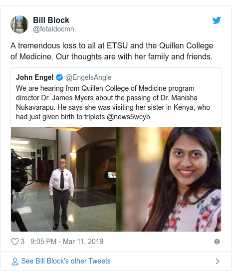 Twitter post by @fetaldocmn: A tremendous loss to all at ETSU and the Quillen College of Medicine. Our thoughts are with her family and friends.