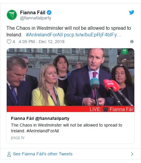 Twitter post by @fiannafailparty: The Chaos in Westminster will not be allowed to spread to Ireland.   #AnIrelandForAll