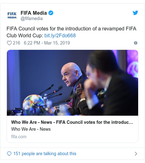 Twitter post by @fifamedia: FIFA Council votes for the introduction of a revamped FIFA Club World Cup