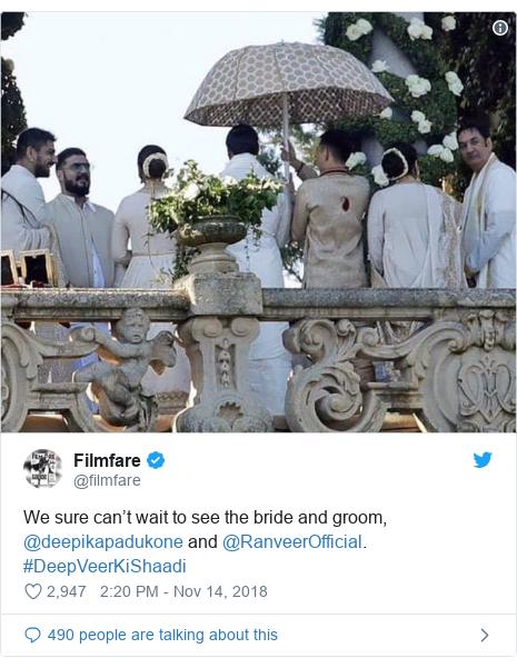 Twitter post by @filmfare: We sure can't wait to see the bride and groom, @deepikapadukone and @RanveerOfficial.  #DeepVeerKiShaadi