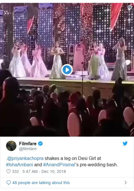 Twitter post by @filmfare: .@priyankachopra shakes a leg on Desi Girl at #IshaAmbani and #AnandPiramal's pre-wedding bash.