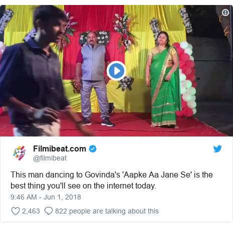 Twitter post by @filmibeat: This man dancing to Govinda's 'Aapke Aa Jane Se' is the best thing you'll see on the internet today.