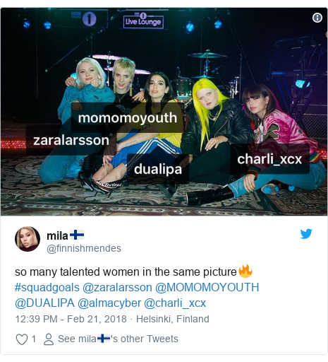 Twitter post by @finnishmendes: so many talented women in the same picture🔥 #squadgoals @zaralarsson @MOMOMOYOUTH @DUALIPA @almacyber @charli_xcx
