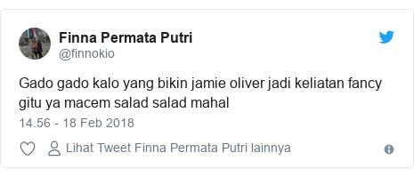 Twitter pesan oleh @finnokio: Gado gado kalo yang bikin jamie oliver jadi keliatan fancy gitu ya macem salad salad mahal