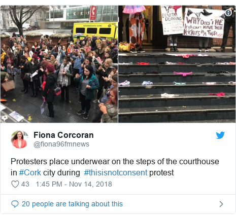 Twitter post by @fiona96fmnews: Protesters place underwear on the steps of the courthouse in #Cork city during  #thisisnotconsent protest