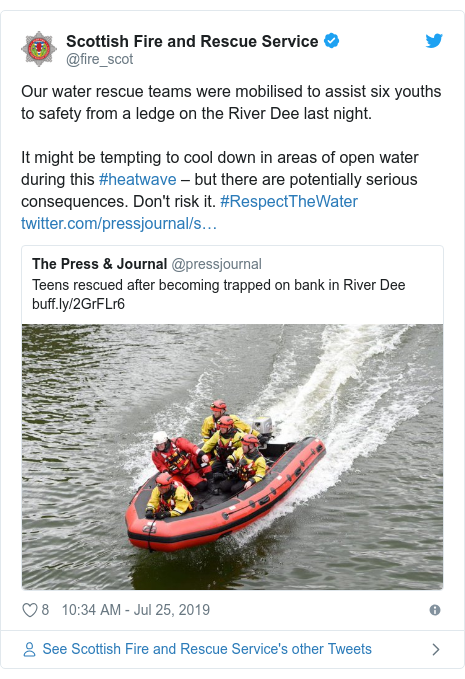 Twitter post by @fire_scot: Our water rescue teams were mobilised to assist six youths to safety from a ledge on the River Dee last night.It might be tempting to cool down in areas of open water during this #heatwave – but there are potentially serious consequences. Don't risk it. #RespectTheWater
