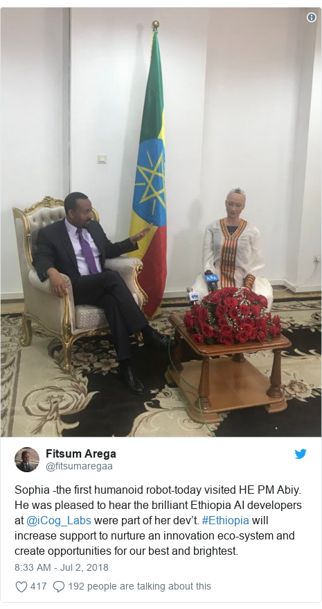 Twitter ubutumwa bwa @fitsumaregaa: Sophia -the first humanoid robot-today visited HE PM Abiy. He was pleased to hear the brilliant Ethiopia AI developers at @iCog_Labs were part of her dev't. #Ethiopia will increase support to nurture an innovation eco-system and create opportunities for our best and brightest.