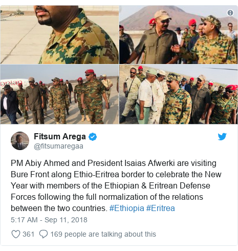 Twitter post by @fitsumaregaa: PM Abiy Ahmed and President Isaias Afwerki are visiting Bure Front along Ethio-Eritrea border to celebrate the New Year with members of the Ethiopian & Eritrean Defense Forces following the full normalization of the relations between the two countries. #Ethiopia #Eritrea