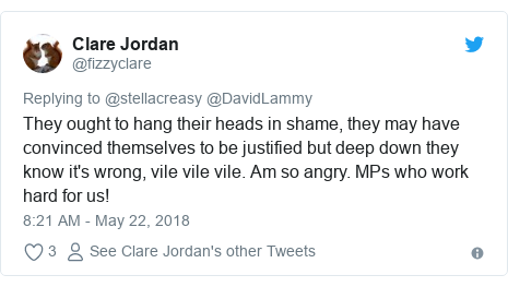 Twitter post by @fizzyclare: They ought to hang their heads in shame, they may have convinced themselves to be justified but deep down they know it's wrong, vile vile vile. Am so angry. MPs who work hard for us!