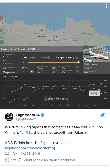 Ujumbe wa Twitter wa @flightradar24: We're following reports that contact has been lost with Lion Air flight #JT610 shortly after takeoff from Jakarta. ADS-B data from the flight is available at
