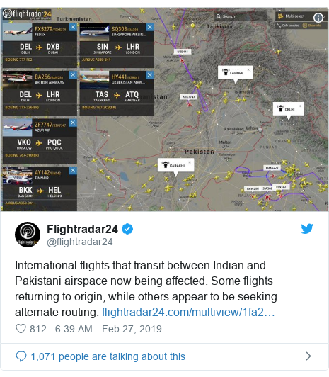 Twitter හි @flightradar24 කළ පළකිරීම: International flights that transit between Indian and Pakistani airspace now being affected. Some flights returning to origin, while others appear to be seeking alternate routing.