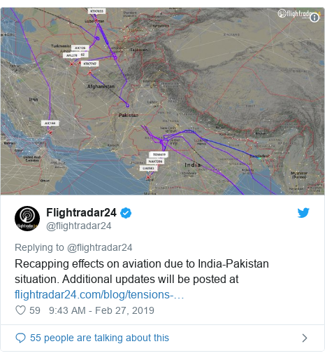 Twitter post by @flightradar24: Recapping effects on aviation due to India-Pakistan situation. Additional updates will be posted at