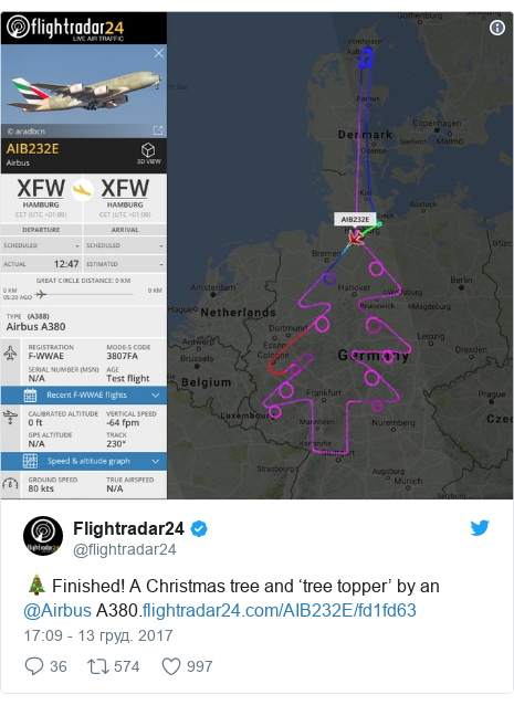 Twitter допис, автор: @flightradar24: 🎄 Finished! A Christmas tree and 'tree topper' by an @Airbus A380.