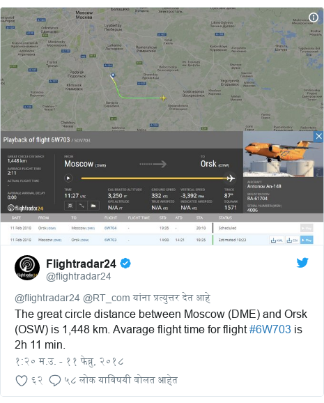 Twitter post by @flightradar24: The great circle distance between Moscow (DME) and Orsk (OSW) is 1,448 km. Avarage flight time for flight #6W703 is 2h 11 min.