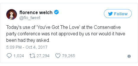 Twitter post by @flo_tweet: Today's use of 'You've Got The Love' at the Conservative party conference was not approved by us nor would it have been had they asked.