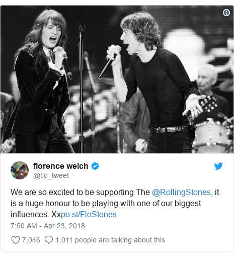 Twitter post by @flo_tweet: We are so excited to be supporting The @RollingStones, it is a huge honour to be playing with one of our biggest influences. Xx