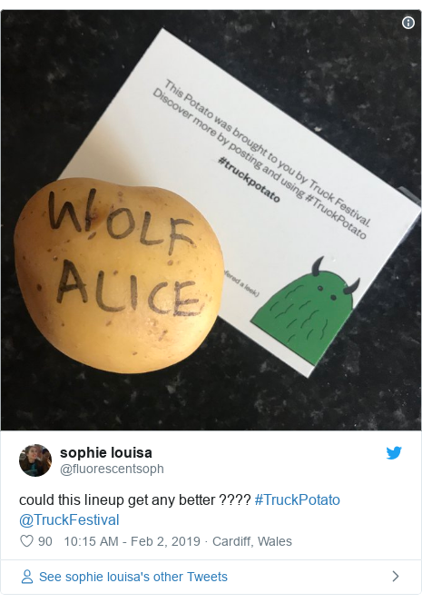 Twitter post by @fluorescentsoph: could this lineup get any better ???? #TruckPotato @TruckFestival