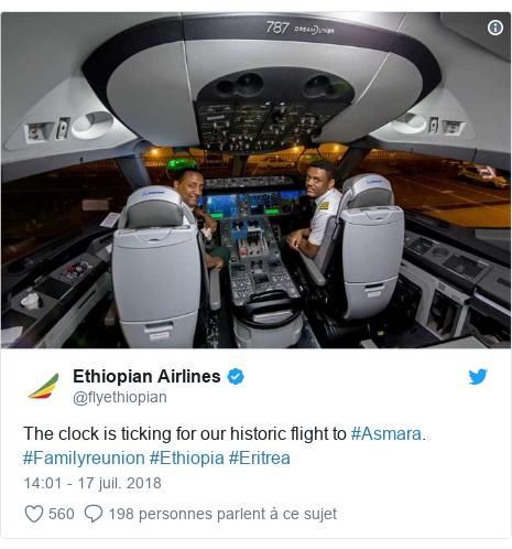 Twitter publication par @flyethiopian: The clock is ticking for our historic flight to #Asmara. #Familyreunion #Ethiopia #Eritrea